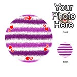 Metallic Pink Glitter Stripes Playing Cards 54 (Round)  Front - Heart9