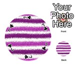 Metallic Pink Glitter Stripes Playing Cards 54 (Round)  Front - Club7