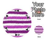 Metallic Pink Glitter Stripes Playing Cards 54 (Round)  Front - Club9