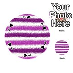 Metallic Pink Glitter Stripes Playing Cards 54 (Round)  Front - Spade7