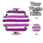 Metallic Pink Glitter Stripes Playing Cards 54 (Round)  Front - Spade10