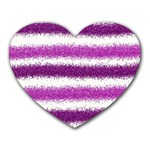 Metallic Pink Glitter Stripes Heart Mousepads Front