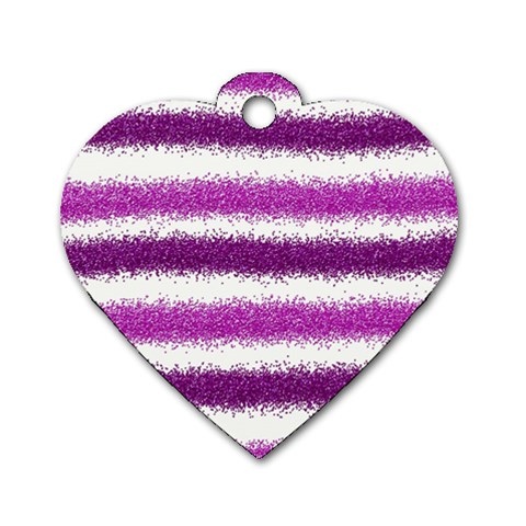 Metallic Pink Glitter Stripes Dog Tag Heart (Two Sides)