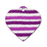 Metallic Pink Glitter Stripes Dog Tag Heart (Two Sides) Front