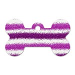 Metallic Pink Glitter Stripes Dog Tag Bone (One Side) Front
