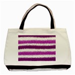 Metallic Pink Glitter Stripes Basic Tote Bag (Two Sides) Front