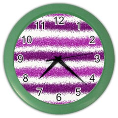 Metallic Pink Glitter Stripes Color Wall Clocks