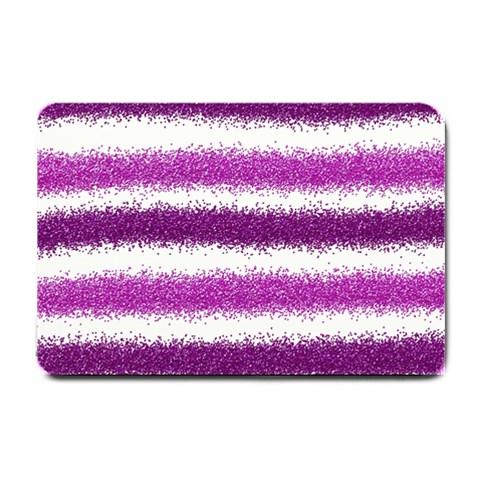 Metallic Pink Glitter Stripes Small Doormat
