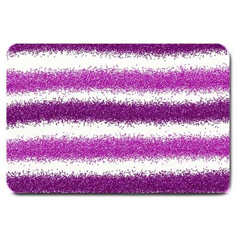 Metallic Pink Glitter Stripes Large Doormat