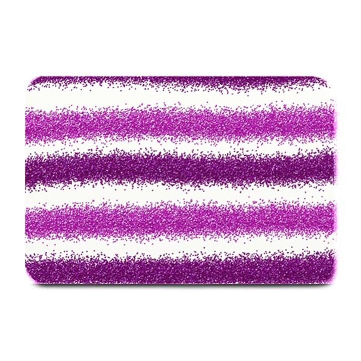 Metallic Pink Glitter Stripes Plate Mats