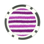 Metallic Pink Glitter Stripes Poker Chip Card Guards Front
