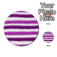 Metallic Pink Glitter Stripes Multi-purpose Cards (Round)