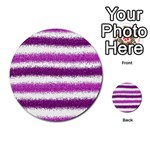 Metallic Pink Glitter Stripes Multi-purpose Cards (Round)  Front 34