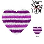 Metallic Pink Glitter Stripes Multi-purpose Cards (Heart)  Front 33