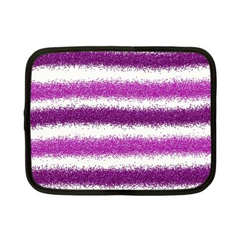 Metallic Pink Glitter Stripes Netbook Case (Small)
