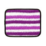 Metallic Pink Glitter Stripes Netbook Case (Small)  Front