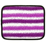 Metallic Pink Glitter Stripes Netbook Case (Large) Front
