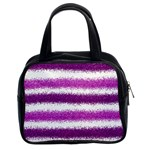 Metallic Pink Glitter Stripes Classic Handbags (2 Sides) Front