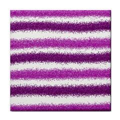 Metallic Pink Glitter Stripes Face Towel