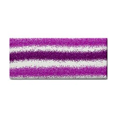 Metallic Pink Glitter Stripes Hand Towel