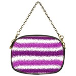 Metallic Pink Glitter Stripes Chain Purses (One Side)  Front