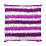 Metallic Pink Glitter Stripes Standard Cushion Case (Two Sides) Front