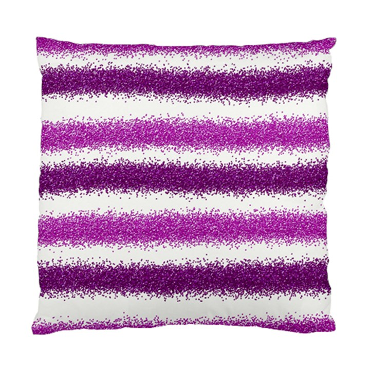 Metallic Pink Glitter Stripes Standard Cushion Case (Two Sides)