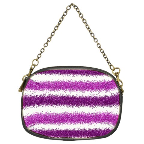 Metallic Pink Glitter Stripes Chain Purses (Two Sides)