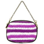 Metallic Pink Glitter Stripes Chain Purses (Two Sides)  Front
