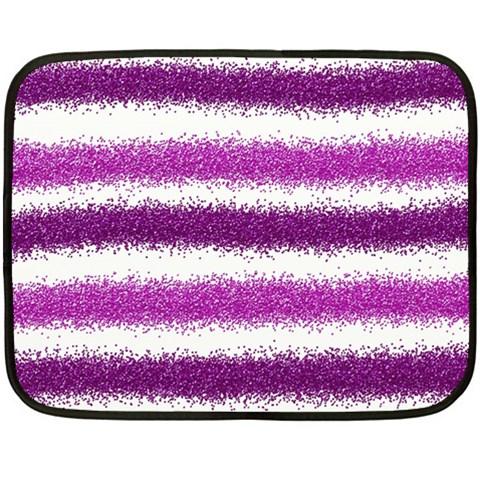 Metallic Pink Glitter Stripes Fleece Blanket (Mini)