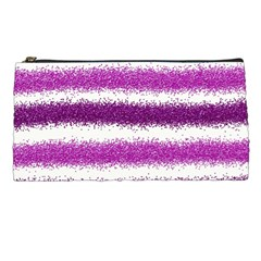 Metallic Pink Glitter Stripes Pencil Cases