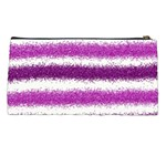 Metallic Pink Glitter Stripes Pencil Cases Back