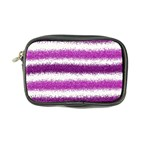 Metallic Pink Glitter Stripes Coin Purse Front