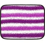Metallic Pink Glitter Stripes Double Sided Fleece Blanket (Mini)  35 x27 Blanket Front