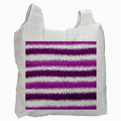 Metallic Pink Glitter Stripes Recycle Bag (One Side)