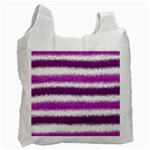 Metallic Pink Glitter Stripes Recycle Bag (One Side) Front