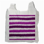 Metallic Pink Glitter Stripes Recycle Bag (Two Side)  Back