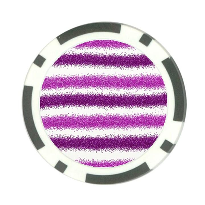 Metallic Pink Glitter Stripes Poker Chip Card Guards (10 pack)
