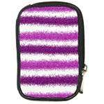Metallic Pink Glitter Stripes Compact Camera Cases Front
