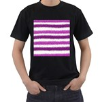 Metallic Pink Glitter Stripes Men s T-Shirt (Black) Front