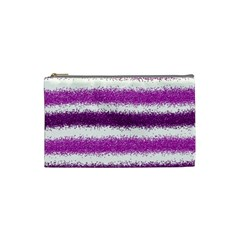 Metallic Pink Glitter Stripes Cosmetic Bag (Small)