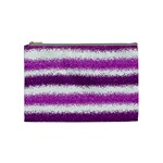 Metallic Pink Glitter Stripes Cosmetic Bag (Medium)  Front