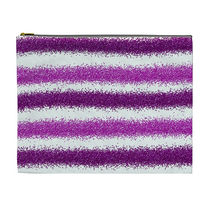Metallic Pink Glitter Stripes Cosmetic Bag (XL)