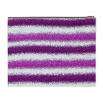 Metallic Pink Glitter Stripes Cosmetic Bag (XL) Back