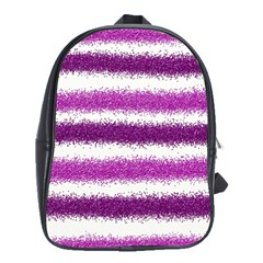 Metallic Pink Glitter Stripes School Bags(Large)