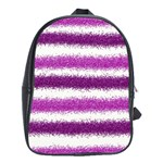 Metallic Pink Glitter Stripes School Bags(Large)  Front