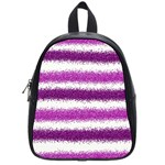 Metallic Pink Glitter Stripes School Bags (Small)  Front