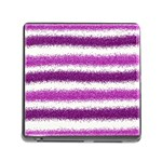 Metallic Pink Glitter Stripes Memory Card Reader (Square) Front