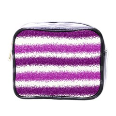 Metallic Pink Glitter Stripes Mini Toiletries Bags