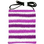 Metallic Pink Glitter Stripes Shoulder Sling Bags Front
